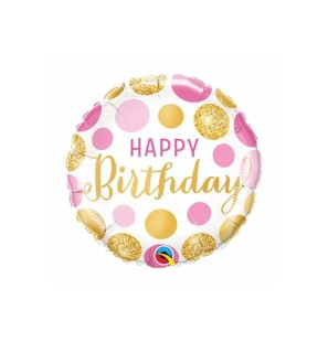 "HBDAY PINK & GOLD DOTS 18""..."