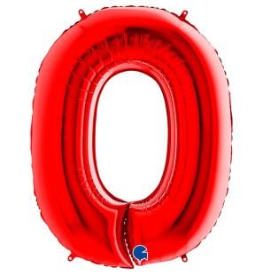 Numero 0 in Mylar 100 cm Rosso