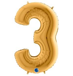 Numero 3 in Mylar 100 cm...