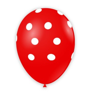 "Palloncino Pois 12"" - Rosso..."