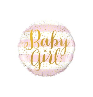 "BABY GIRL PINK STRIPES 18""..."